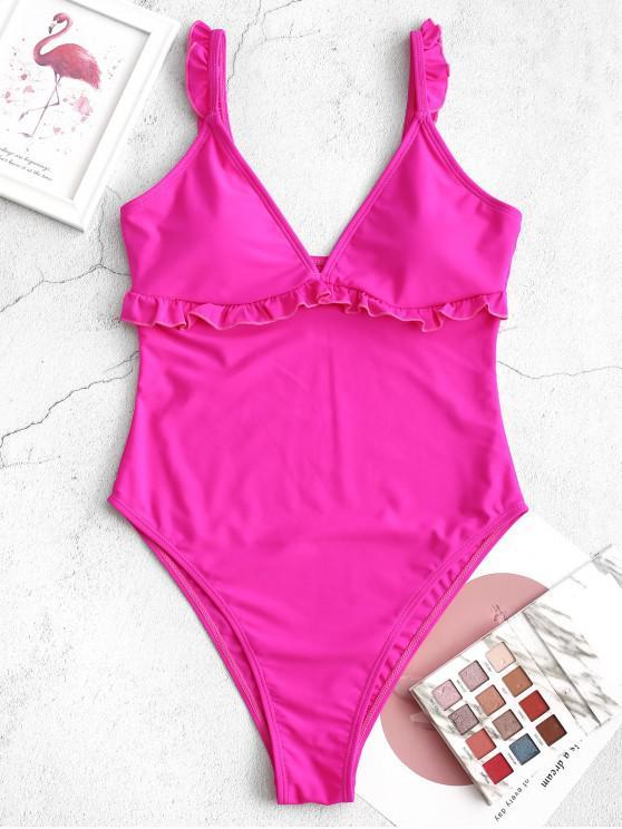fashion ZAFUL Plunge High Cut Lettuce One-piece Swimsuit - DIMORPHOTHECA MAGENTA XL