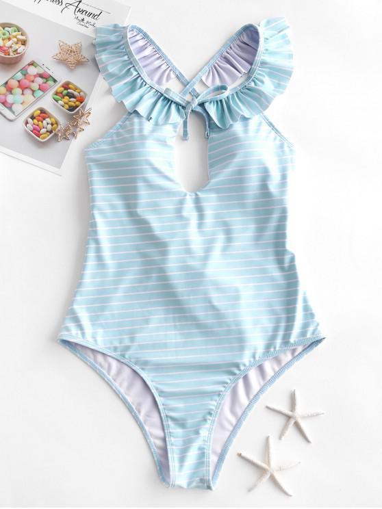 ZAFUL listrado Lace Up Ruffle uma peça Swimsuit - Azul Claro M