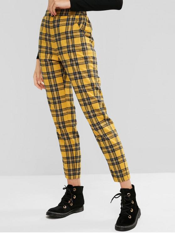 Pantalones de cintura alta ZAFUL a cuadros con bolsillos - Multicolor-A L