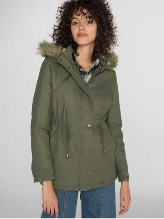 shops Drawstring Waist Pocket Zipper Parka Coat - ARMY GREEN M