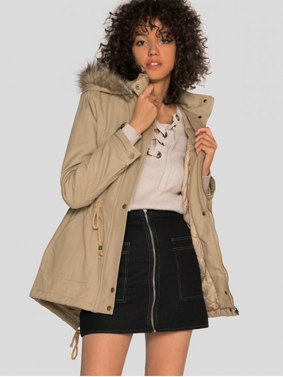 new Drawstring Waist Pocket Zipper Parka Coat - LIGHT KHAKI S