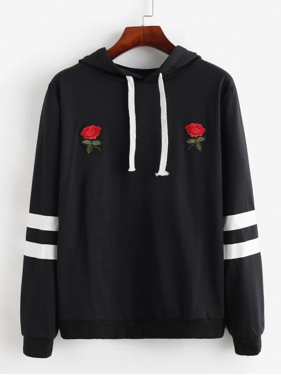 sale Flower Embroidered Striped Panel Drawstring Hoodie - BLACK M