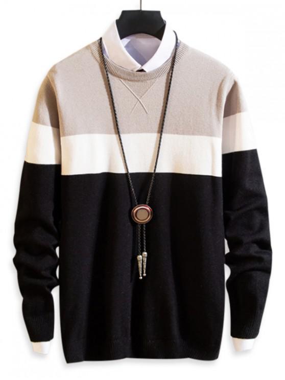 women Splicing Colorblock Round Neck Pullover Sweater - BLACK S