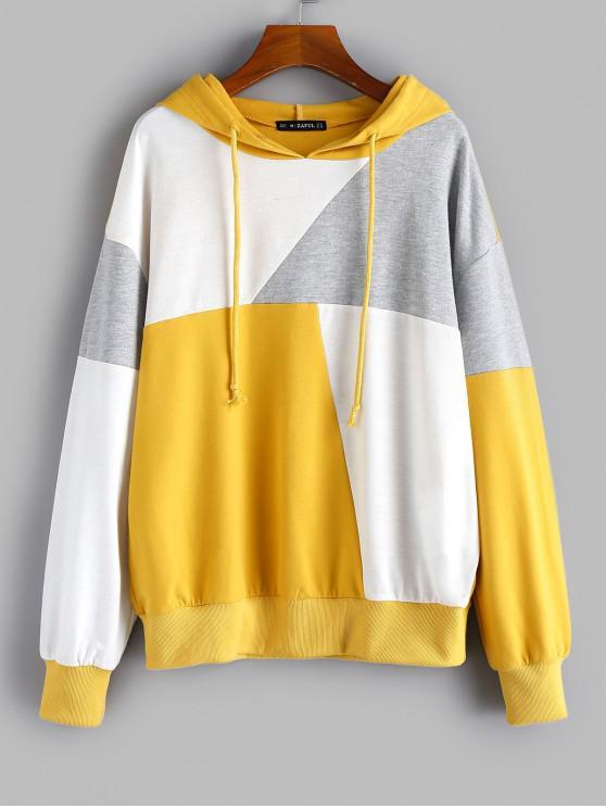 outfit ZAFUL Rib-knit Trim Patchwork Hoodie - MULTI L