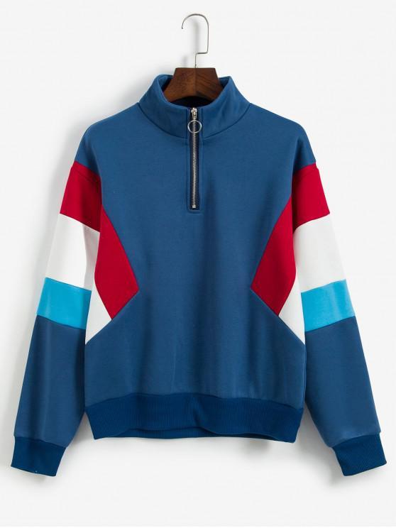 ZAFUL Sweat-shirt Zippé en Blocs de Couleurs à Doublure en Laine - Bleu Ciel S