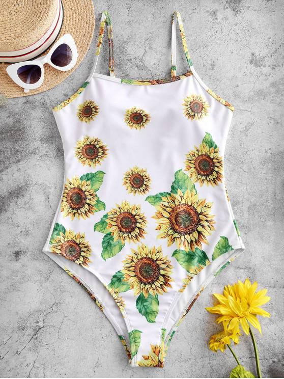 affordable ZAFUL Sunflower One-piece Swimsuit - WHITE L