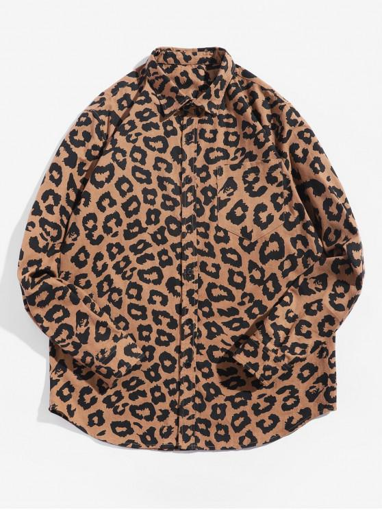 outfits Leopard Print Full Sleeves Pocket Shirt - LEOPARD 2XL