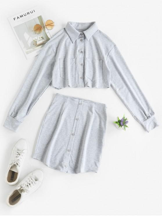 fashion Pockets Button Up Cropped Two Piece Dress - GRAY S