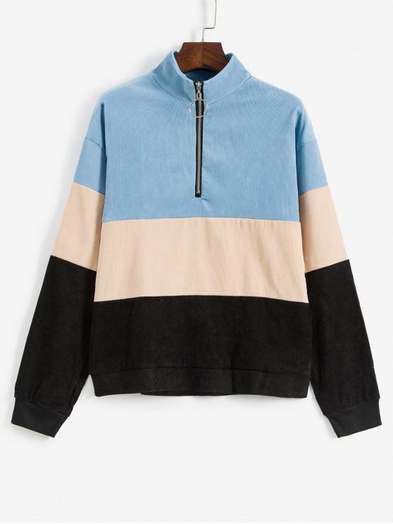 Sweat-shirt Contrasté à Demi-zip en Velours Côtelé - Multi M