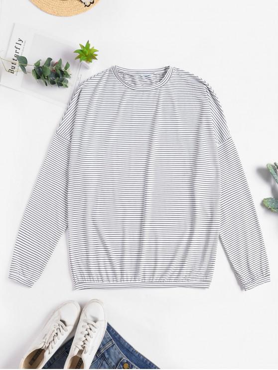 fancy Drop Shoulder Striped Loose T-shirt - WHITE ONE SIZE