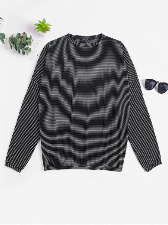 unique Drop Shoulder Striped Loose T-shirt - BLACK ONE SIZE