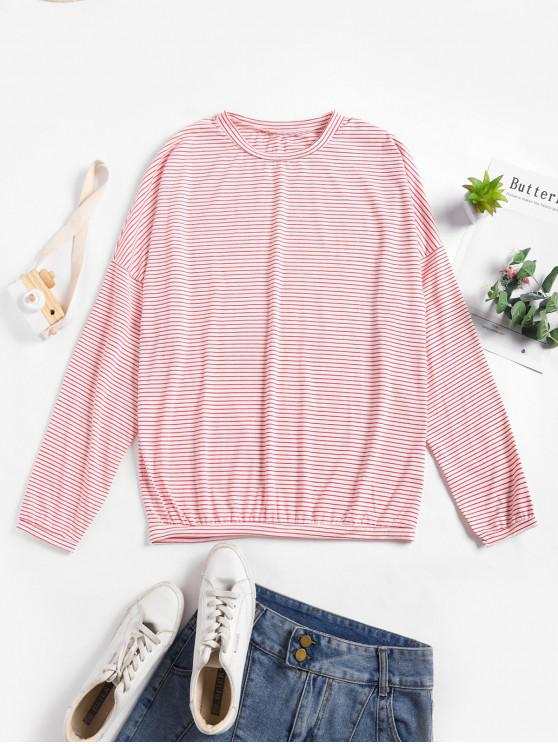 womens Drop Shoulder Striped Loose T-shirt - PINK ONE SIZE