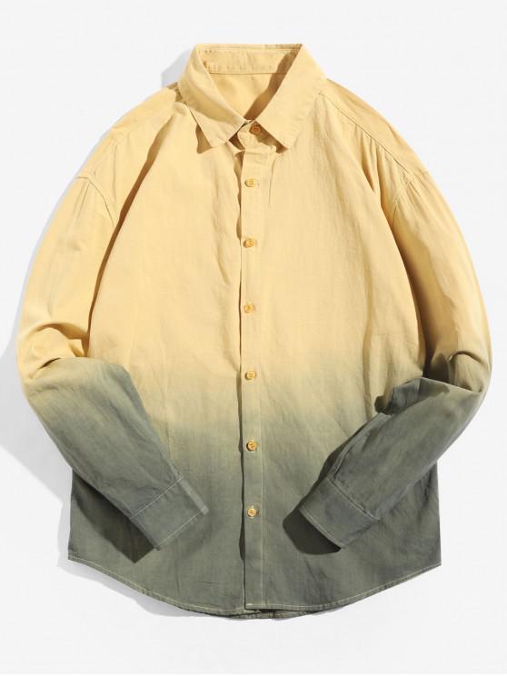 Camisa Asimétrica de Manga Larga con Estampado Degradado - Amarillo XS