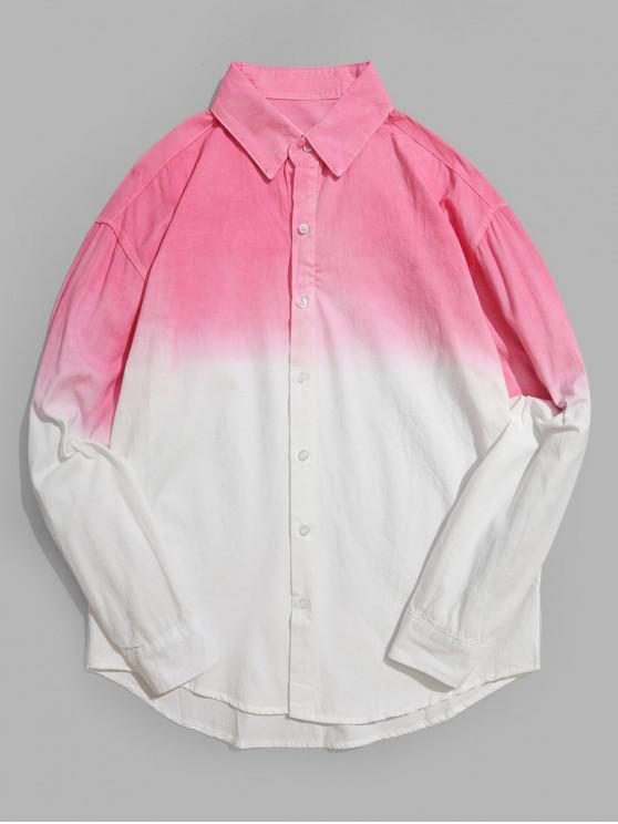 Camisa Asimétrica de Manga Larga con Estampado Degradado - Rosado XS