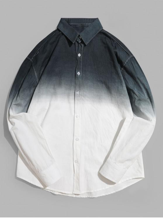 shop Ombre Print Long Sleeve Curved Hem High Low Shirt - BLACK XS