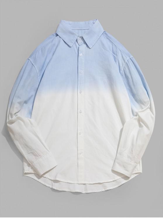buy Ombre Print Long Sleeve Curved Hem High Low Shirt - LIGHT BLUE M