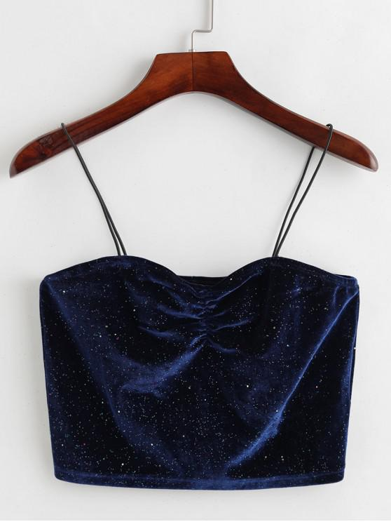 affordable ZAFUL Glittery Ruched Velvet Bungee Cami Top - CADETBLUE XL