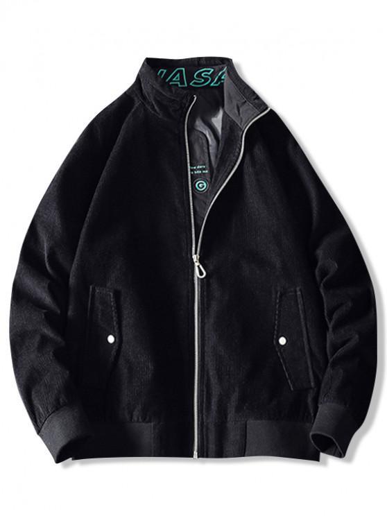 lady Letter Print Splicing Raglan Sleeve Jacket - BLACK 5XL