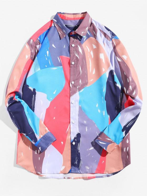 Camisa de Túnica de Bolso com Manga Comprida de Cor - Multi 2XL