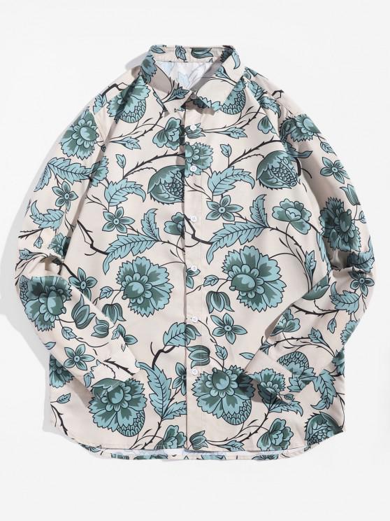 Flower Leaf Printed Long-sleeved Shirt - متعدد M