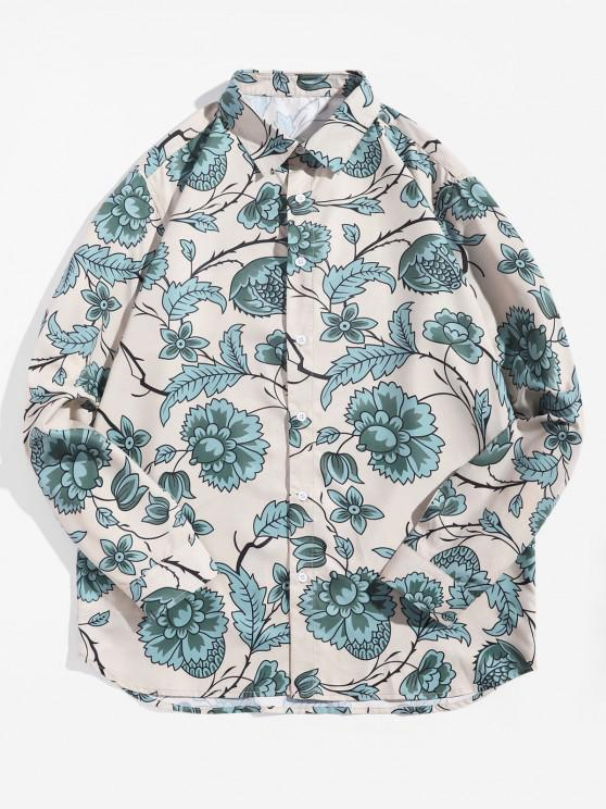 latest Flower Leaf Printed Long-sleeved Shirt - MULTI 2XL