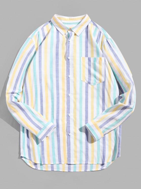 shops Striped Print Long-sleeved Pocket Shirt - MULTI 3XL