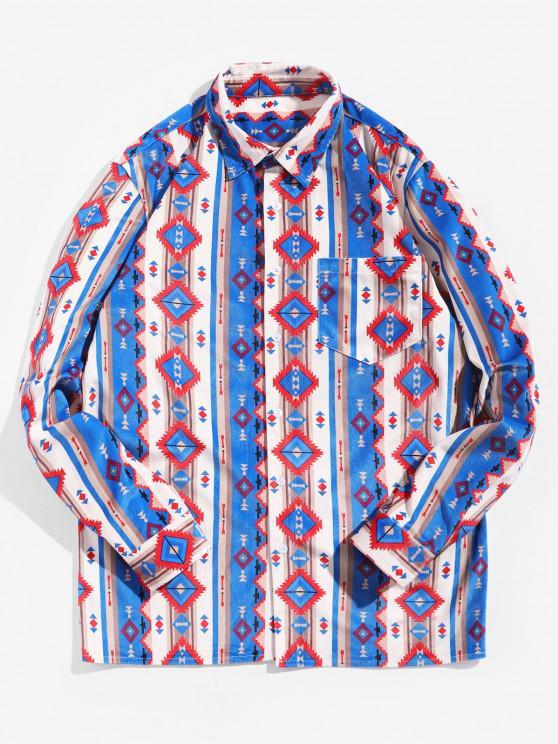 Tribal Print Pocket Design Long-sleeved Shirt - متعدد M