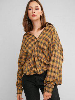 ZAFUL Button Down Plaid Twist Hem Shirt - Orange Gold M
