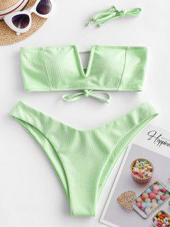 ZAFUL Textured V-wired Bandeau Bikini Swimsuit - Mint Green S