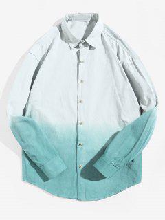 Ombredruck Langarm Hemd Mit Abgerundetem Saum - Grün Xs