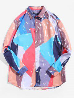Color Spliced Long-Sleeved Casual Shirt - Multi 2xl