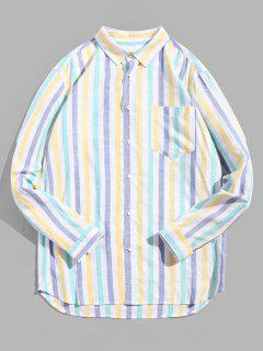 Striped Print Long-sleeved Pocket Shirt - Multi 3xl