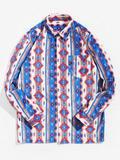 Tribal Print Pocket Design Long-sleeved Shirt - Multi 3xl