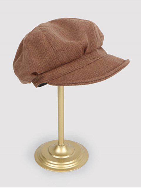 chic Vintage Autumn Solid Newsboy Cap - CARAMEL  Mobile