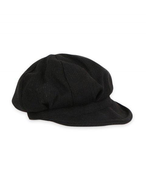 fancy Vintage Autumn Solid Newsboy Cap - BLACK  Mobile