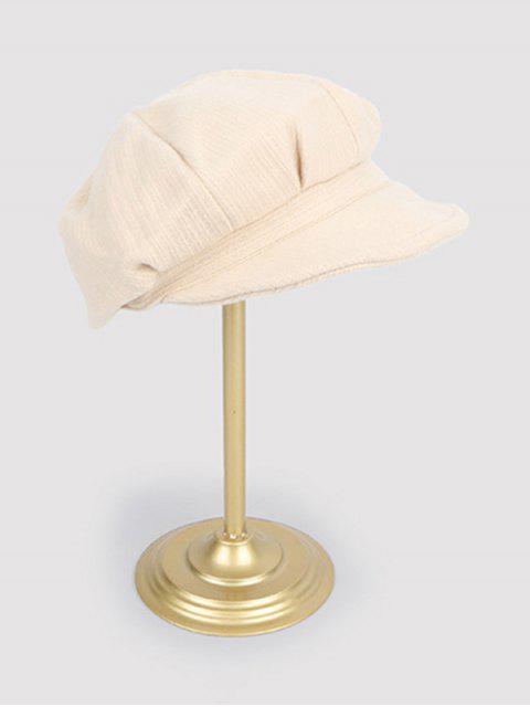 women Vintage Autumn Solid Newsboy Cap - WHITE  Mobile