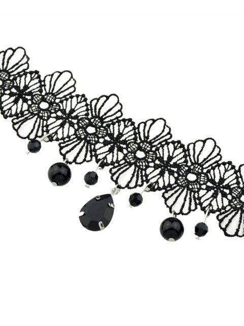 Цветок Капля воды Бисер Кружево Чокер Ожерелье - Чёрный  Mobile