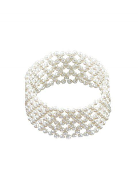 online Faux Pearl Multilayered Beaded Bracelet - WHITE  Mobile