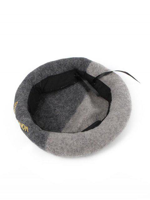 shop Embroidered Letter Color-blocking Painter Hat - GRAY  Mobile