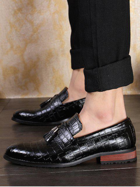 chic Snakeskin Embossed Slip On Business Shoes - BLACK EU 38 Mobile
