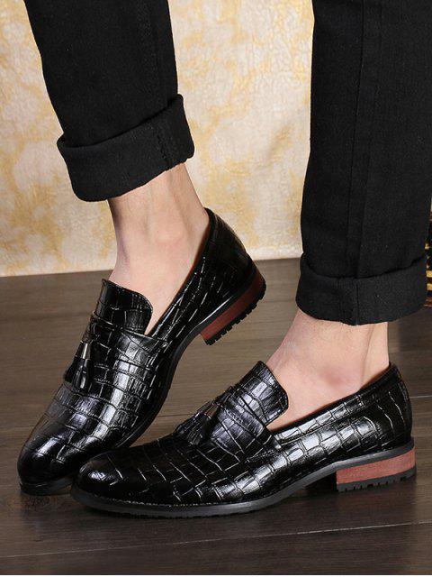 sale Snakeskin Embossed Slip On Business Shoes - BLACK EU 44 Mobile