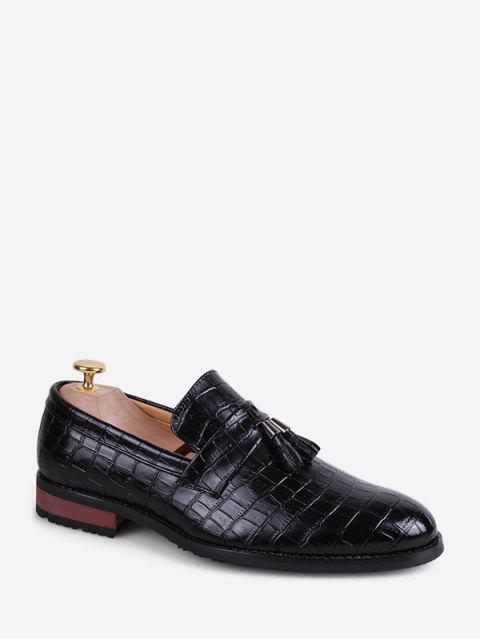 trendy Snakeskin Embossed Slip On Business Shoes - BLACK EU 40 Mobile