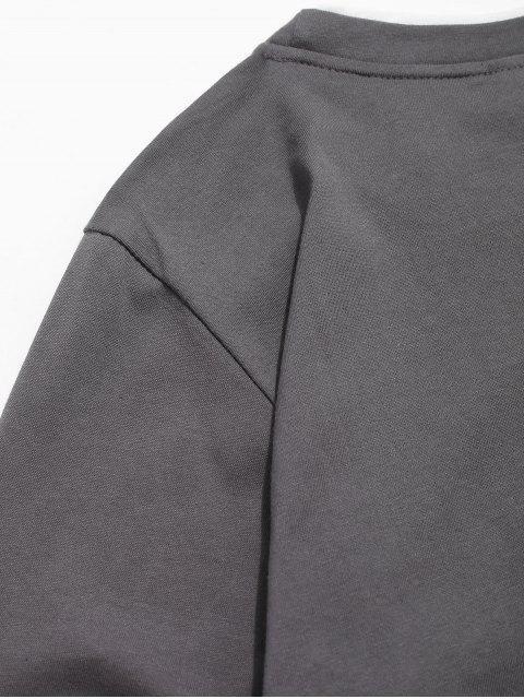 Camiseta básica de manga larga con vueltas en contraste - Gris Oscuro XS Mobile