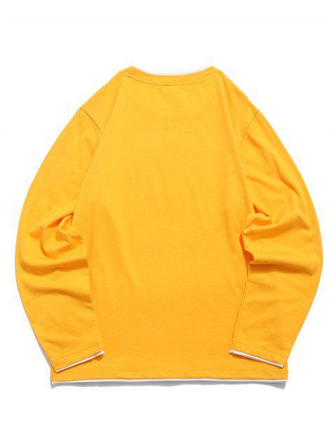 Camiseta básica de manga larga con vueltas en contraste - Amarillo de Sol  M Mobile