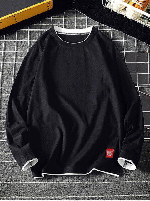 Camiseta básica de manga larga con vueltas en contraste - Negro L Mobile