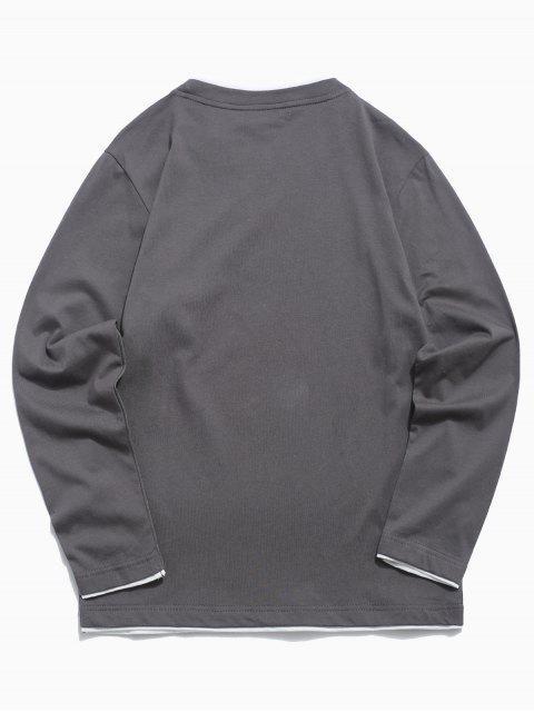 Camiseta básica de manga larga con vueltas en contraste - Gris Oscuro L Mobile