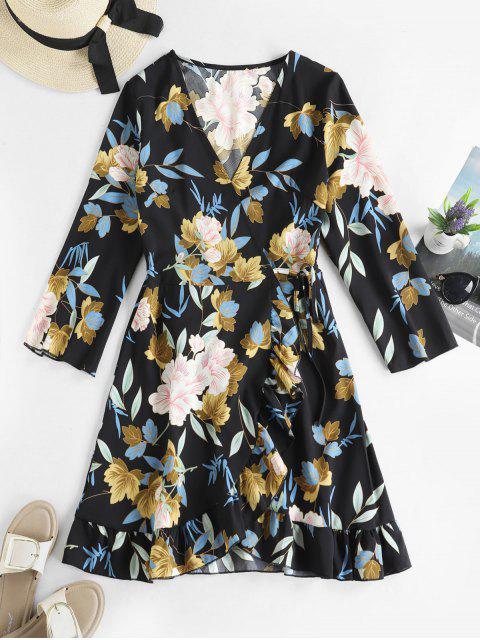 best Floral Ruffles Long Sleeve Wrap Dress - MULTI-A M Mobile