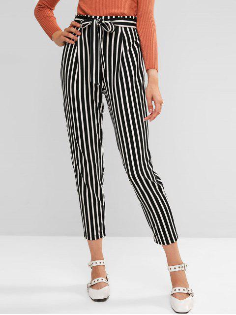 Pantalones de bolsa de papel con cinturón a rayas de dos tonos de ZAFUL - Multicolor-A L Mobile