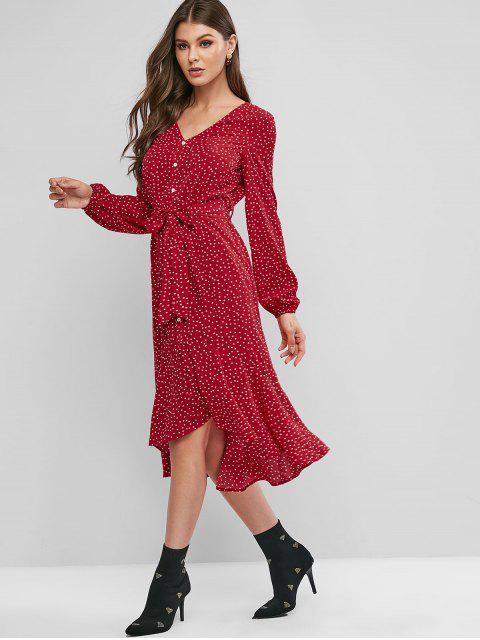 ZAFUL Robe Haute Basse Imprimée Ceinturée avec Boutons - Rouge Lave S Mobile
