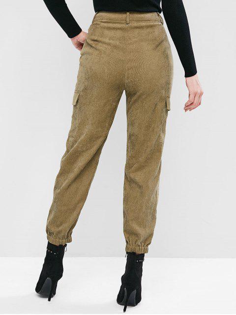 Pantalones jogger de carga con cremallera de bolsillo ZAFUL de pana - Ejercito Verde S Mobile